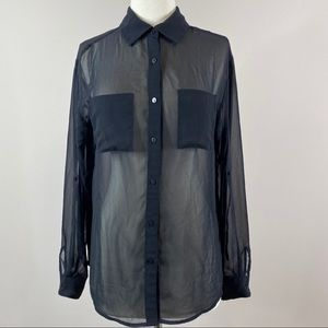 Decree Button Down Blouse Sheer Black Medium